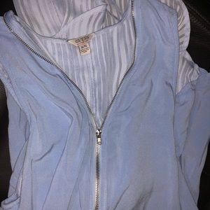 Guess blue xl zipper flowy top